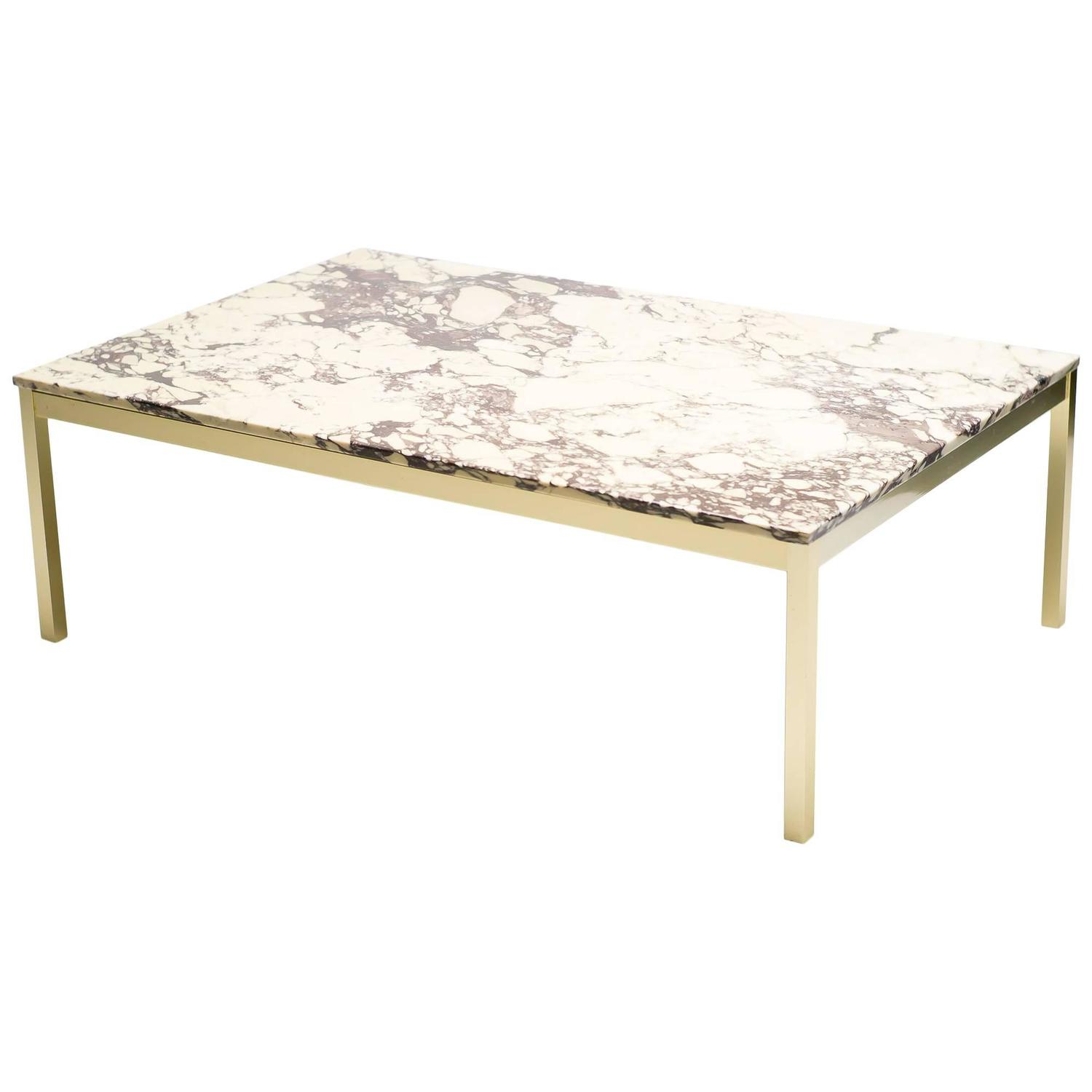 Danish Marble And Brass Coffee Table At 1stdibs