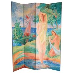 """Bathers,"" Brilliant Late Art Deco Folding Screen in Pointillist Manner, 1958"