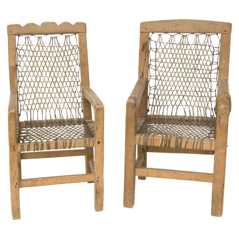 Antique Native American Miniature Chairs Northwest Coast Circa 1900 For