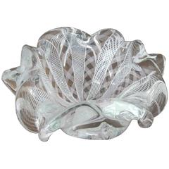 Zanfirico Pale Pink and White Latticino Scalloped Edge Murano Glass Bowl