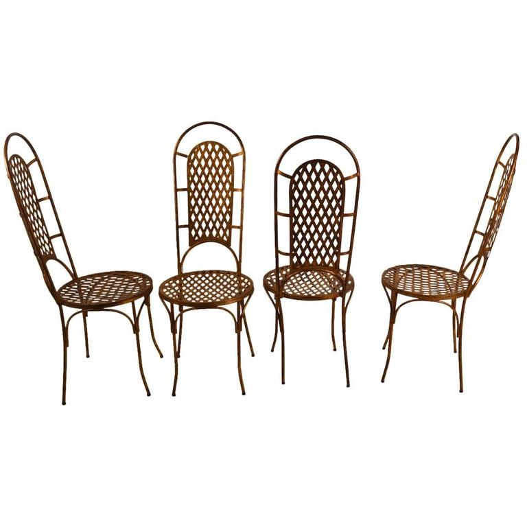 Set of Four Gilt Metal Dining Chairs