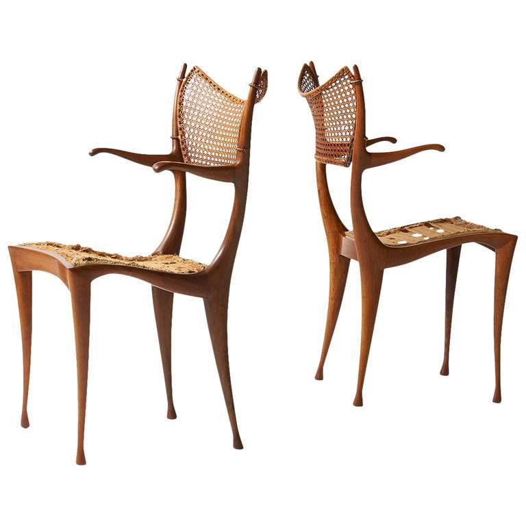 Rare Pair of Dan Johnson Gazelle Chairs in Italian Walnut