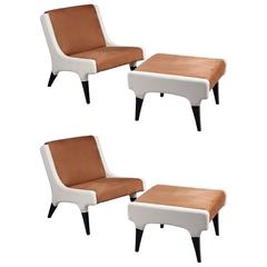Pair of Chairs with Stools Gio Ponti, Italy, circa 1964