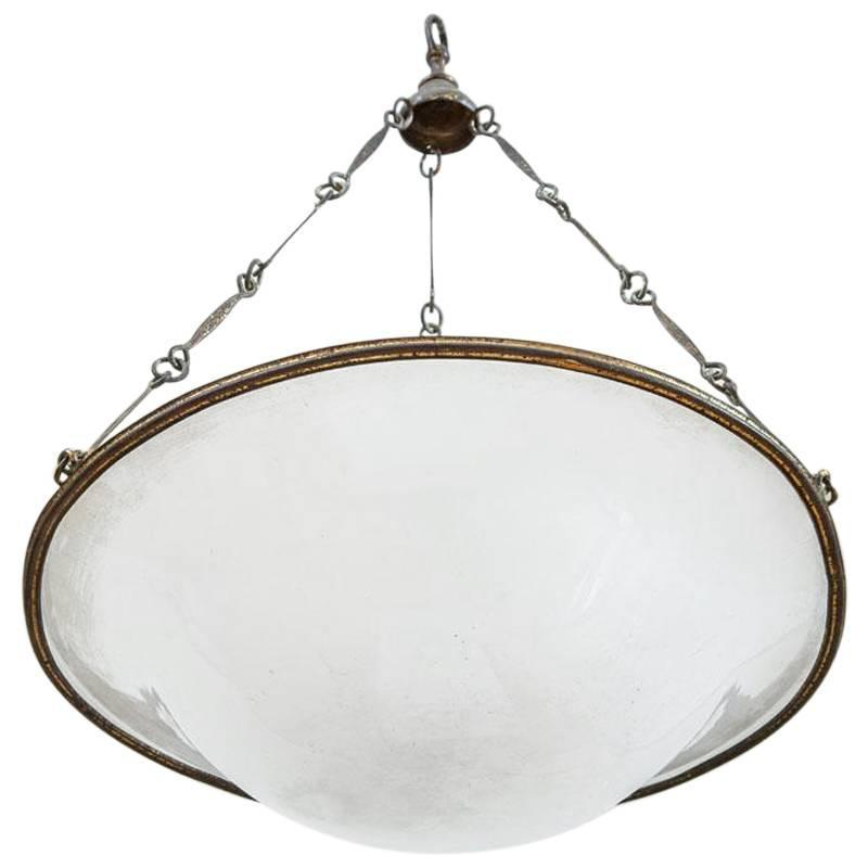 White Glass Pendant Light Fixture Or Plafonnier At 1stdibs