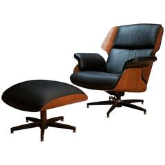Drexel Declaration Leather Lounge Chair and Ottoman