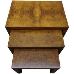 Set of Three Milo Baughman Burled Nesting Stacking Tables Mid-Century Modern