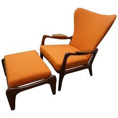 Fantastic Adrian Pearsall Sculptural Walnut Lounge Chair Ottoman