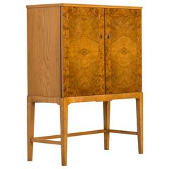 Mid-Century Cabinet in Burl Wood Produced in Finland