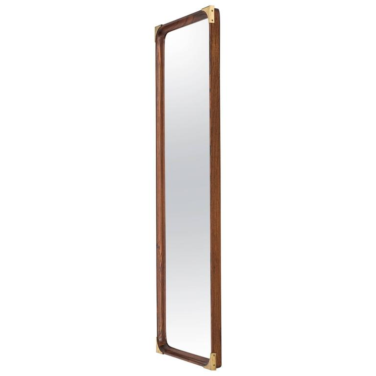 Rosewood Mirror with Brass Details Produced in Sweden