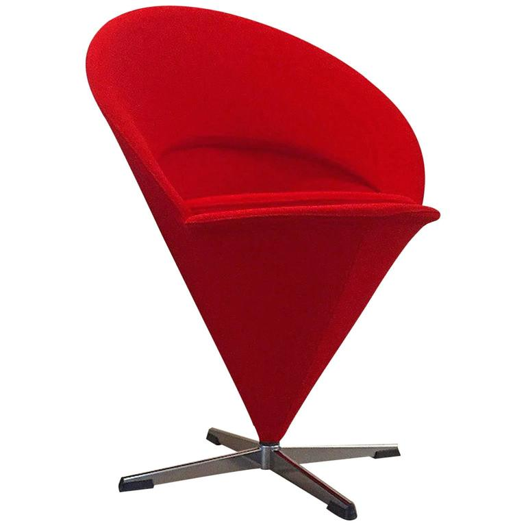 Danish Design Mid Century Verner Panton K Series Cone Chair Red Wool Fabric  For Sale
