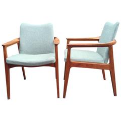 Rare Danish Vintage Teak Armchairs from France and Son by Sigvard Bernadotte