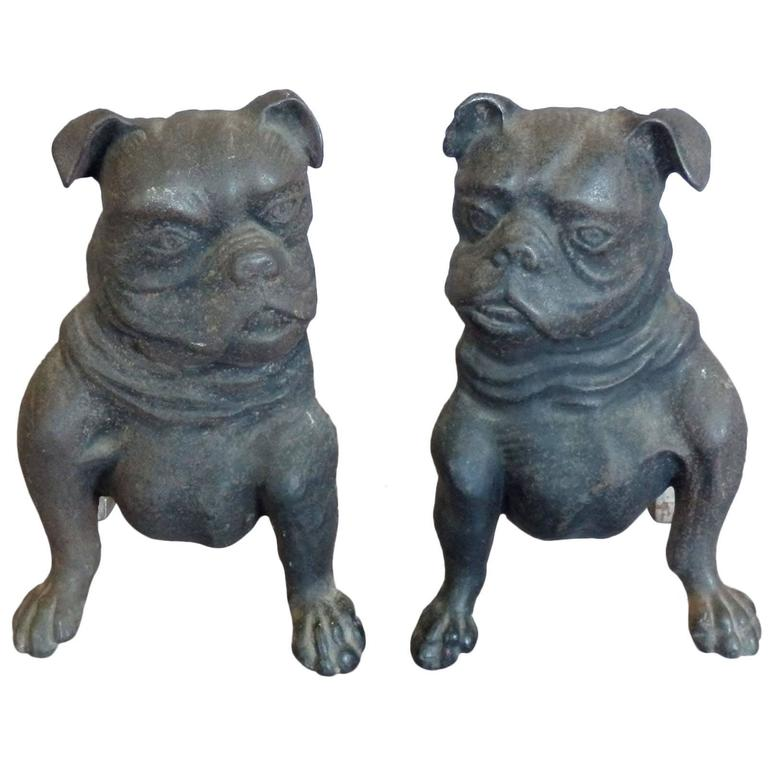 Early Cast Iron Bulldog Andirons For Sale
