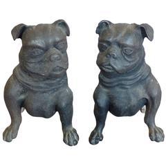 Early Cast Iron Bulldog Andirons