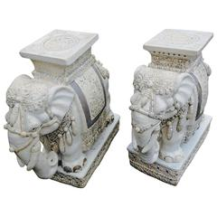 Monumental Elephant End Tables Antiques from Important Estate