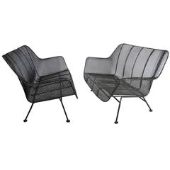 Pair of Russell Woodard Powder Coated Wrought Iron Settees