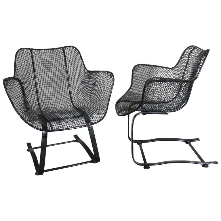 Pair Of Russell Woodard Wrought Iron Springer Rocking Chairs At 1stdibs
