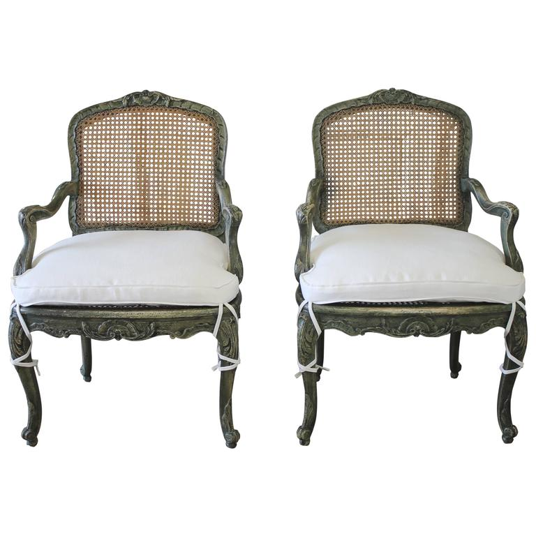 19th Century Pair Of Painted Cane Chairs At 1stdibs