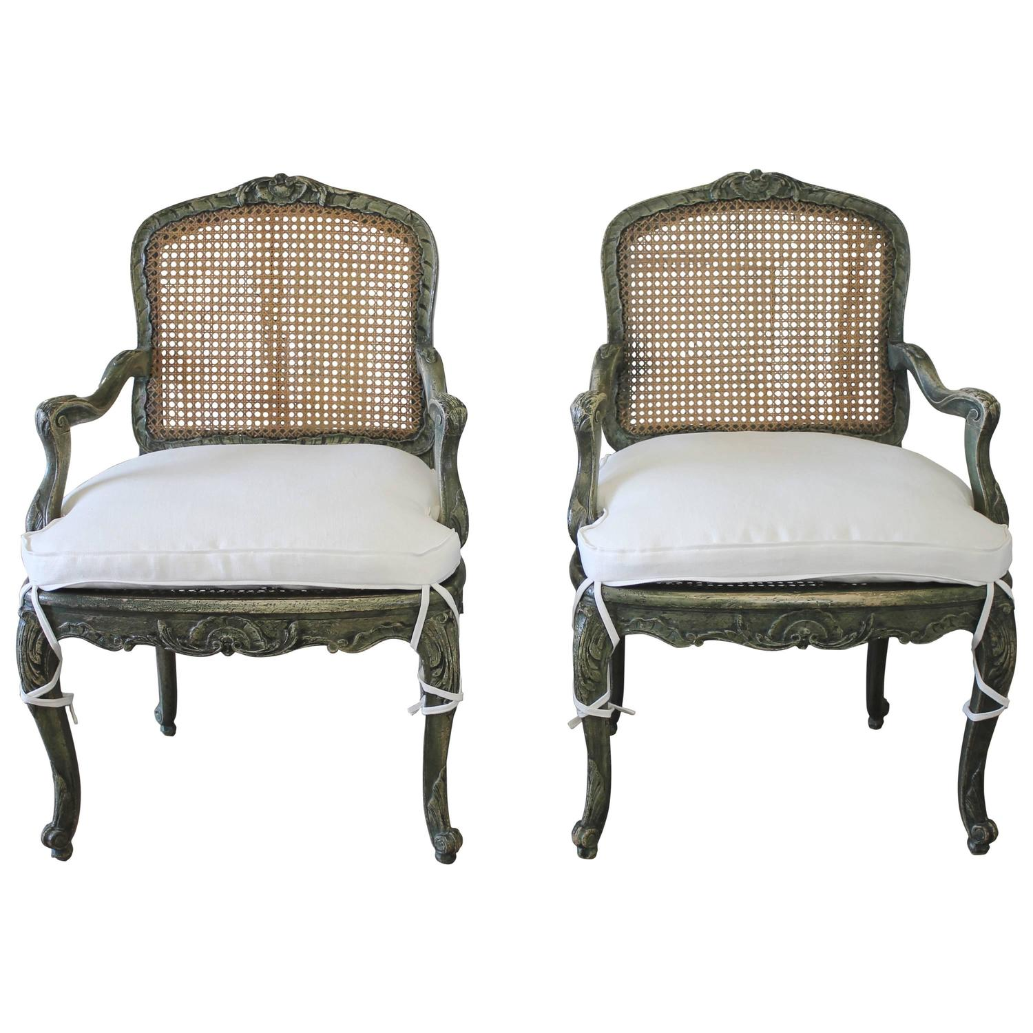 19th Century Pair Of Painted Cane Chairs For Sale At 1stdibs