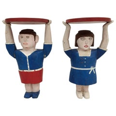 Male and Female Side Tables Stands Human Figures Carved Wood Folk Art