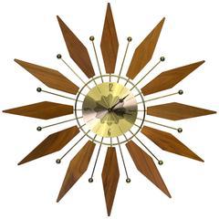 1969 Walnut and Brass Wall Clock with Starburst Pattern by Westclox