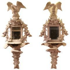 Beautiful Pair of Folk Art Mirrors Consoles, Carved Wood Eagles