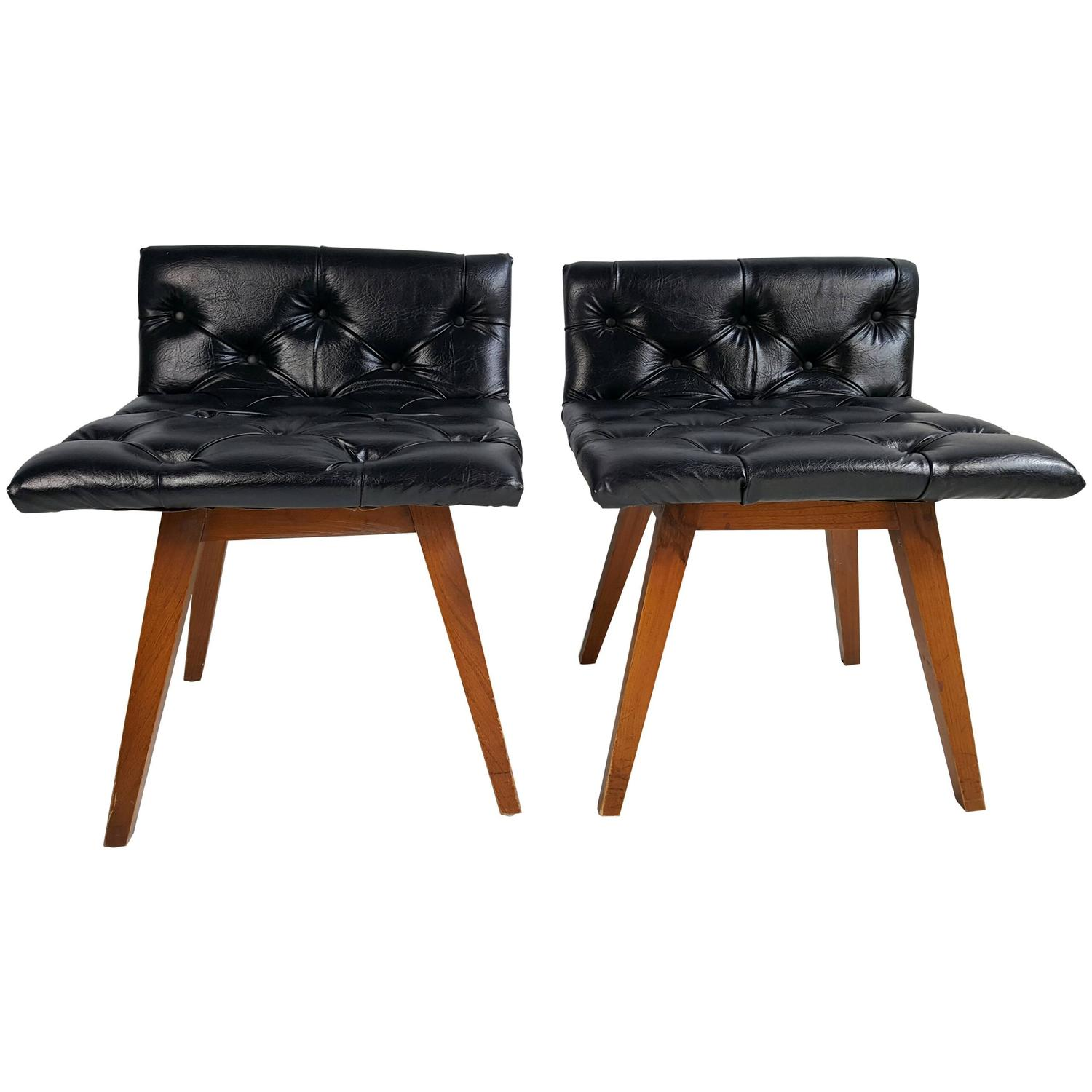 Pair of button tufted swivel vanity chairs or stools at 1stdibs