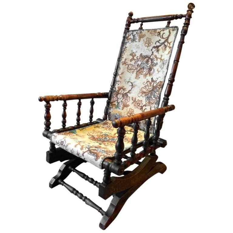 Antique Armchair American Rocking Chair Mahogany 19th Century Victorian For  Sale - Antique Armchair American Rocking Chair Mahogany 19th Century