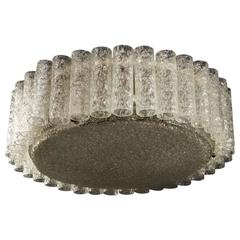 Large Mid-Century Flush Mount Ice Glass Chandelier by Doria Leuchten