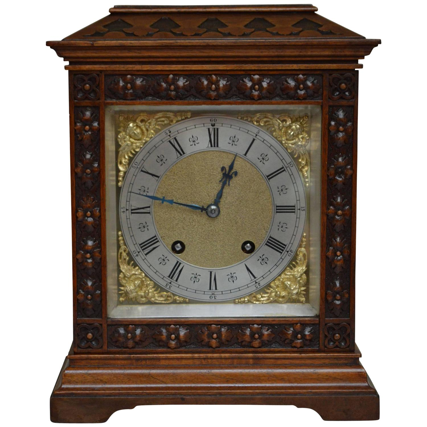 walnut ting tang lenzkirch bracket clock for sale at 1stdibs