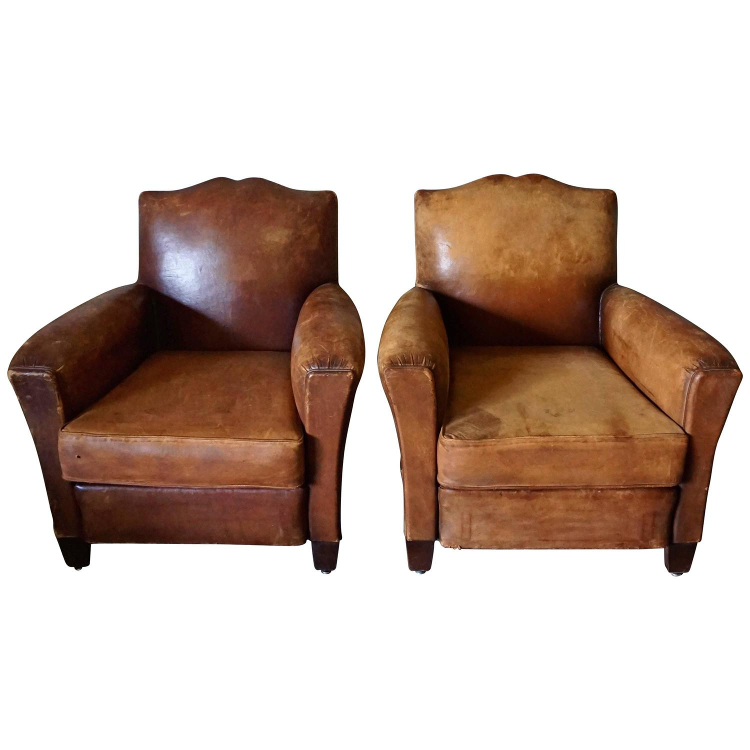 Distressed Pair of Art Deco French Cognac Leather Club