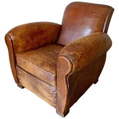 Distressed Art Deco French Cognac Leather Club Chair, 1930s