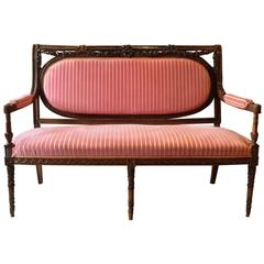 Antique Sofa Victorian French Mahogany Salon Settee 19th Century Carved Pink