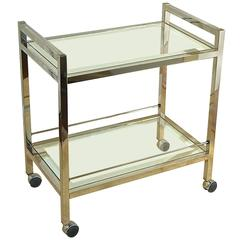 Modern Chrome Two-Tier Bar Cart