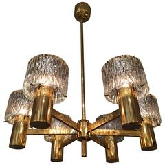 1970 Brass and Glass Chandelier