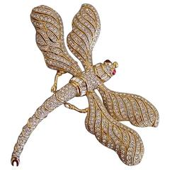 Stunning Large Runway Gold-Plated Rhinestone Ciner Dragonfly Brooch