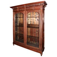 Hand-Carved Bookcase with Glass Door Display