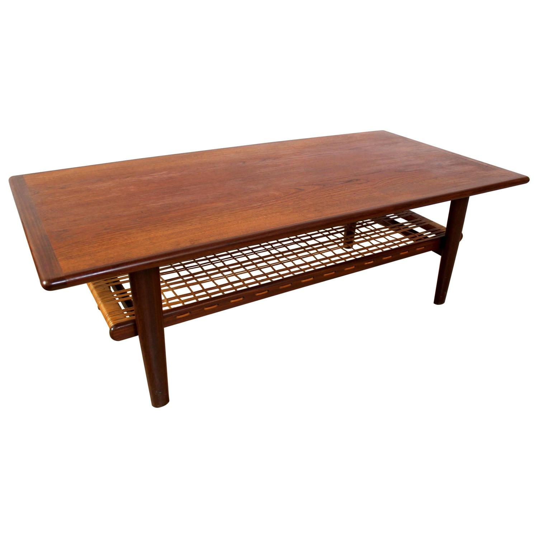 1960s Scandinavian Teak And Cane Coffee Table By Torbj Rn Afdal For Bruksbo At 1stdibs