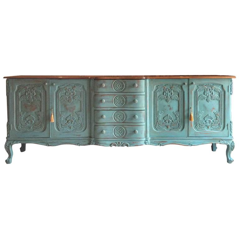 french sideboard credenza shabby chic dresser solid mahogany antique style large at 1stdibs. Black Bedroom Furniture Sets. Home Design Ideas