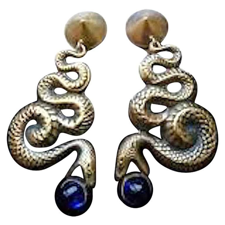 1950s Stunning Original Joseff of Hollywood Drop Snake Earrings For Sale