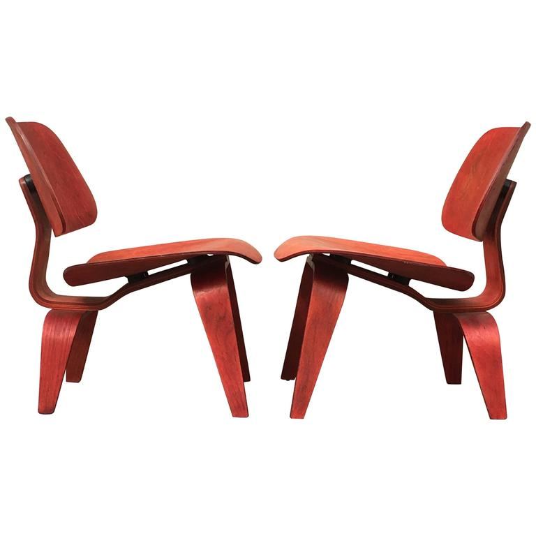 Two Red Evans Early Eames LCW Lounge Chairs For Sale
