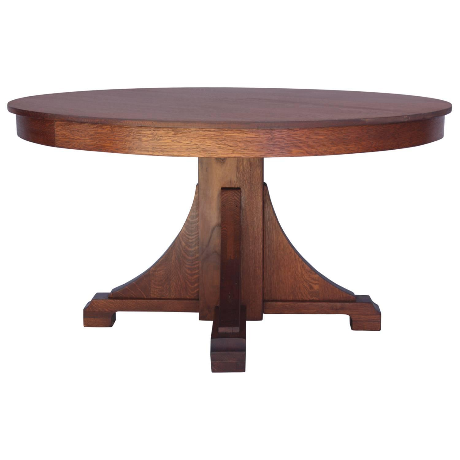 1910 Arts And Crafts Round Oak Dining Table At 1stdibs