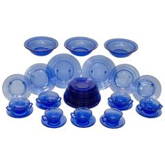"""Moderntone"" Cobalt Blue Depression Glass Dishware, Hazel-Atlas"