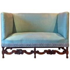 Antique Sofa Shabby Chic Queen Anne Style Victorian High Back Settee