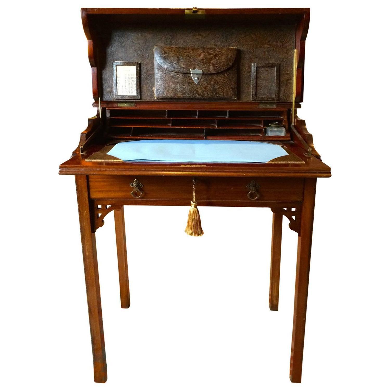 Fall Front Desk ~ Antique fitted desk edwardian mahogany drop front bureau