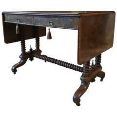 Antique Sofa Table George III Side Table 19th Century Walnut Barley Twist