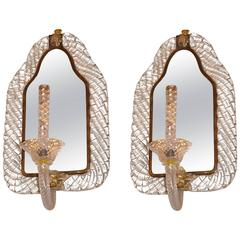 Pair of Mirror Sconces, Italy, Art Moderne, circa 1935