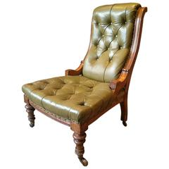 Antique Leather Armchair Victorian Lounge Salon Library Chair Chesterfield Style
