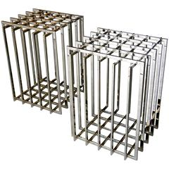 Pair of Nickel Plated Cage-Form Table Bases by Pierre Cardin  C. 1970s