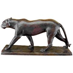 Art Deco Bronze Panther Statue by M. Lebeau