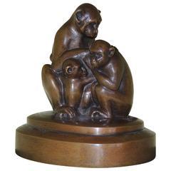 Bronze Monkey Sculpture Art Deco